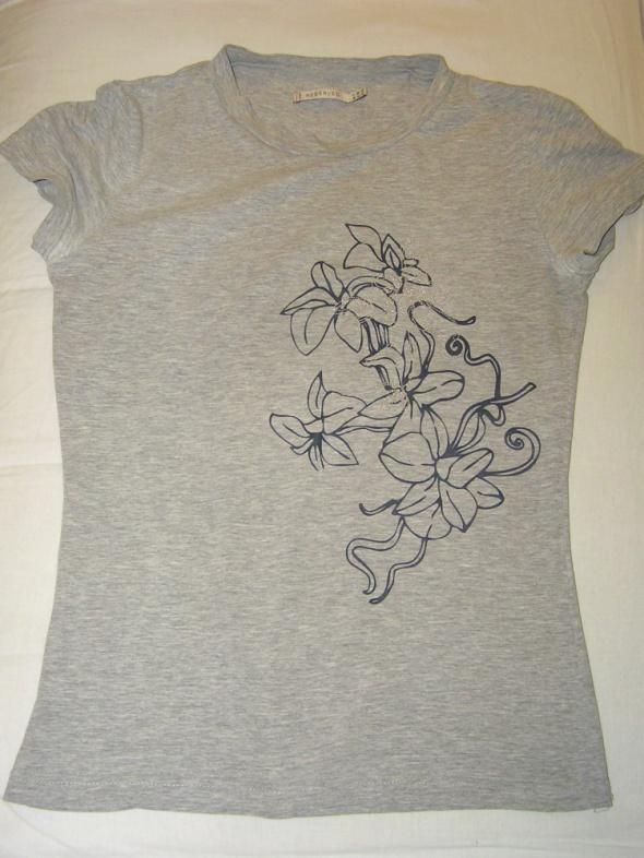 T-shirt RESERVED śliczna z wyszywanymi kwiatami PRINT szary melanż S 36