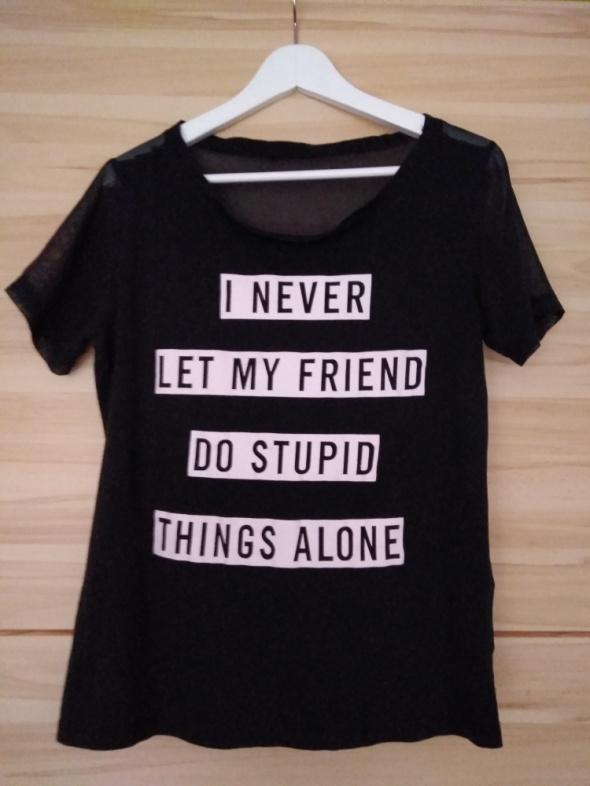 Koszulki Koszulka czarna z nadrukiem 38