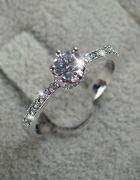 Nowy srebrny pierścionek 925 srebro cyrkonie kamienie diamencik...