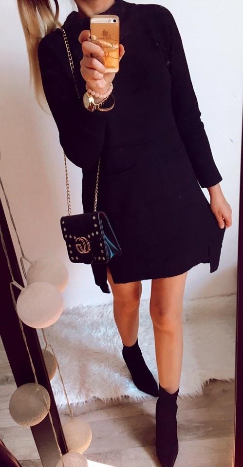 Sukienka Damska czarna Sweterkowa M L