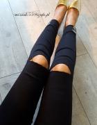 Czarne spodnie rurki srebrne zdobienia DZIURY...