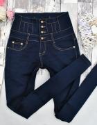 Granatowe Modelujące Spodnie Jeansy Dżinsy Rurki Wysoki Stan Hi...