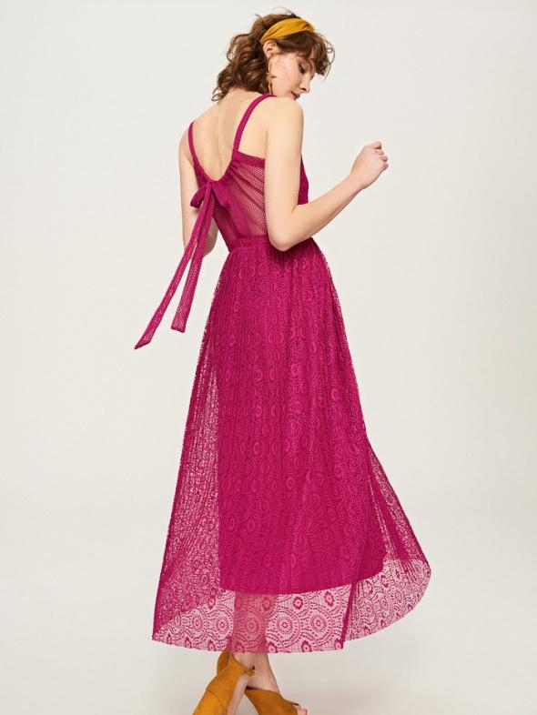 sukienka reserved 36 S ażurowa koronkowa wiązana fuksja