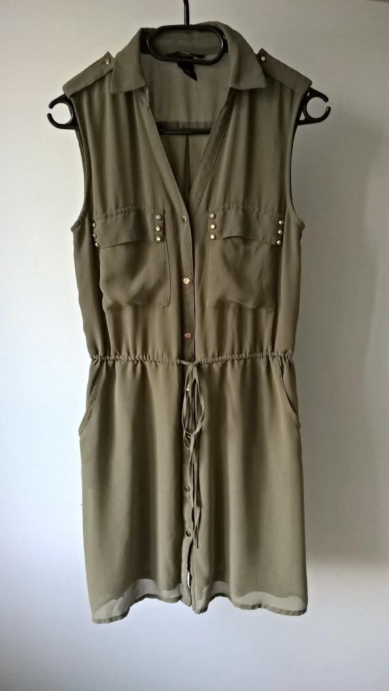 Letnia sukienka khaki szmizjerka z wiązaniem XS S