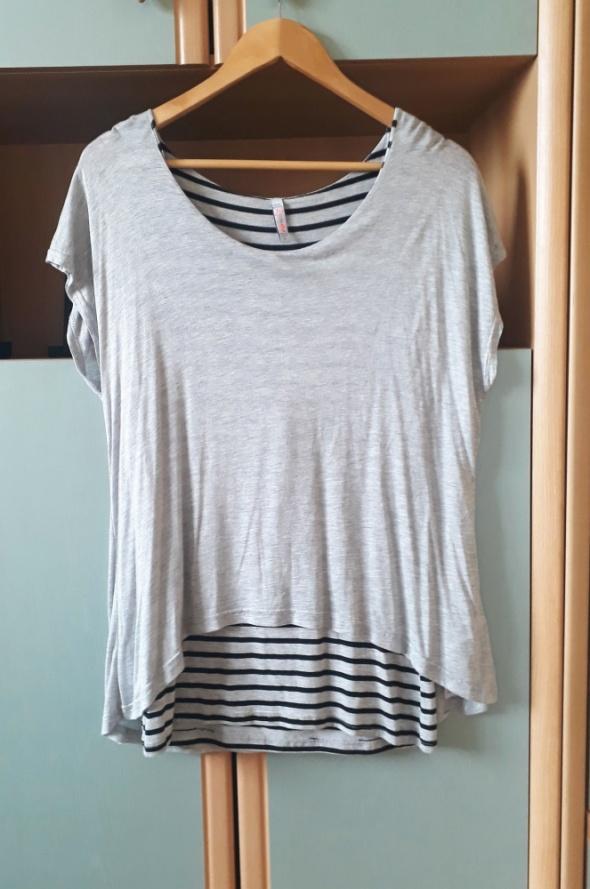 Tunika oversize szara bluzka 2w1 New Yorker w paski pasiak casu...