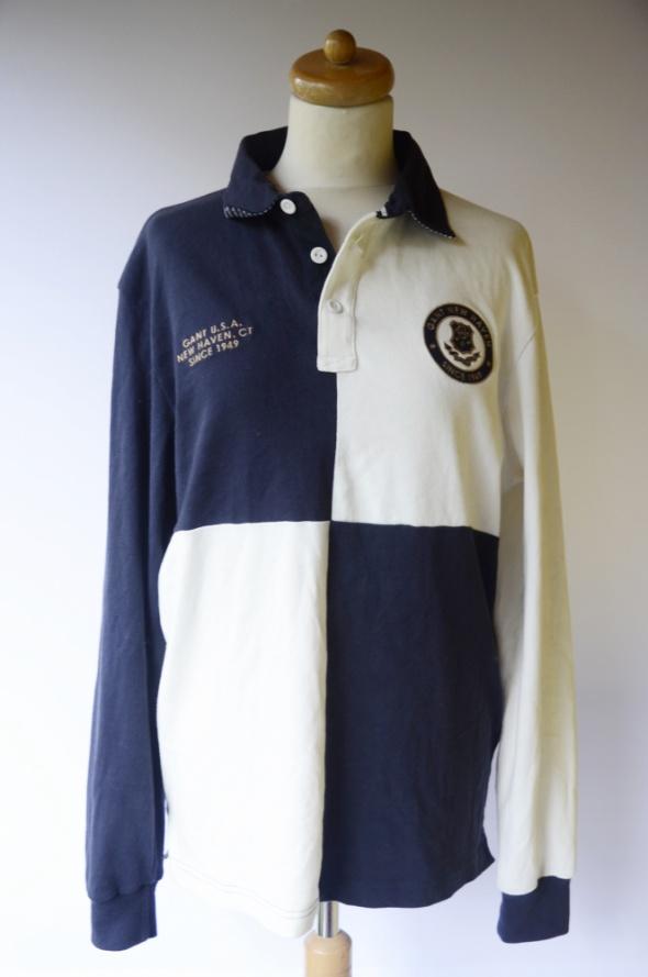 Koszulka Polo Gant L 40 Granatowa Kremowa Kołnierzyk
