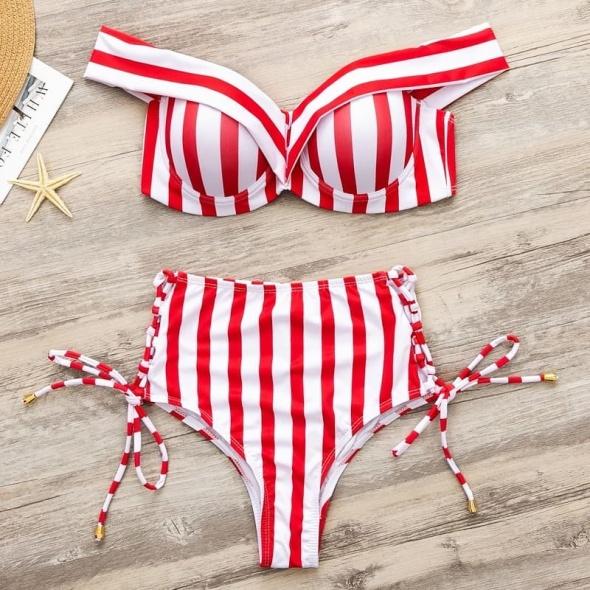 Bikini czerwone push up paski wysoki stan