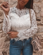 Biała bluzka koszula koronkowa długi rękaw...