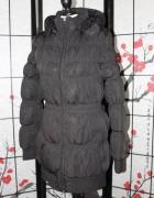 kurtka puchówka czarna pikowana z kapturem gruba ciepła zimowa...