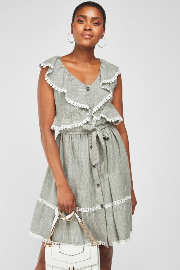 Nowa letnia sukienka M 38 bawełniana bawełna paski guziki szara retro dziewczęca