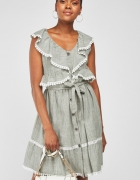 Nowa letnia sukienka M 38 bawełniana bawełna paski guziki szara...