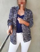 Szary biały melażowy sweter kardigan długi rękaw kieszenie modn...