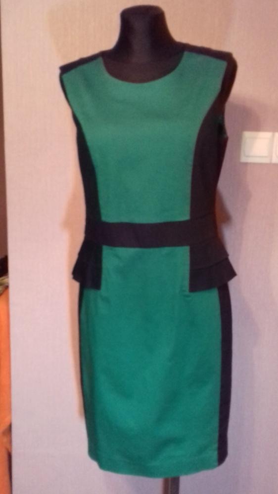 Suknie i sukienki Zielono czarna elegancka dopasowana sukienka z baskinką r 38