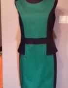 Zielono czarna elegancka dopasowana sukienka z baskinką r 38...