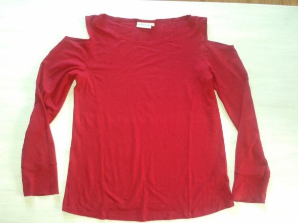 bluzka czerwona wycięte ramiona 40 L
