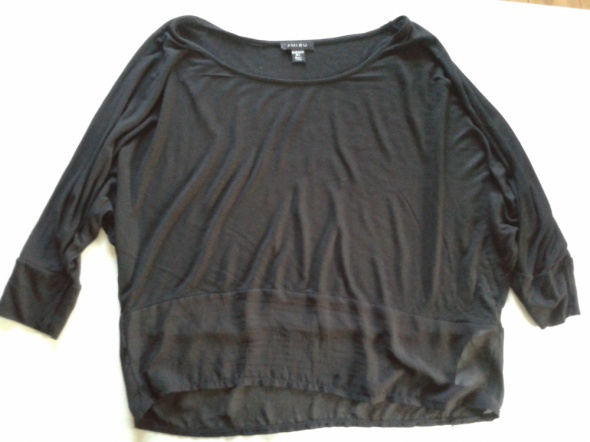 AMISU Koszulka bluzka czarna tiul 40 M L