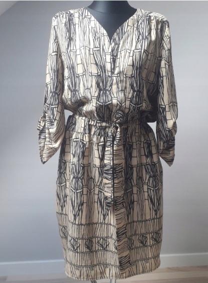 Pied a Terre włoska sukienka safari wiązanie 42 XL