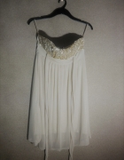 Beżowa zwiewna sukienka z cekinami New Look 40...