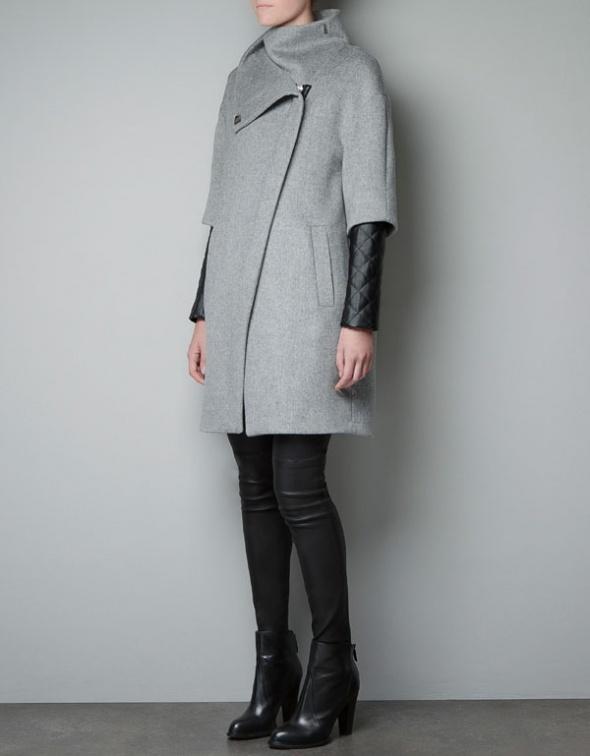 Nowy szary płaszcz ze skórkowymi rękawami XL...