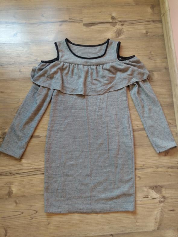 Nowa szara sukienka z falbanką i wycięciami na ramionach M L...