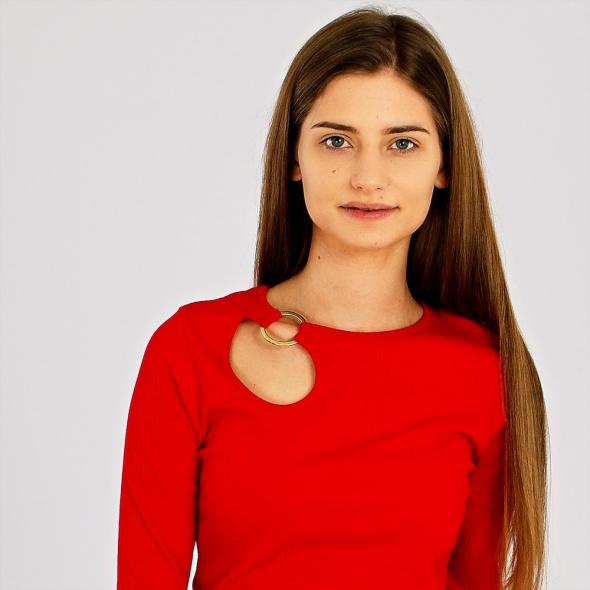 sexy czerwona bluzka ozdoba wycięcie kółko uni dziura