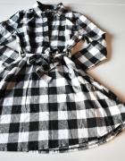 Sukienka czarno biała w kratkę rozkloszowana L 40...