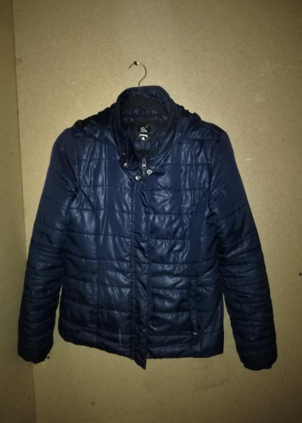 Sinsay Granatowa pikowana kurtka z kapturem 36...
