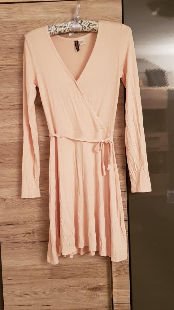 Sukienka H&M wiskoza nude r XS S pudrowa...
