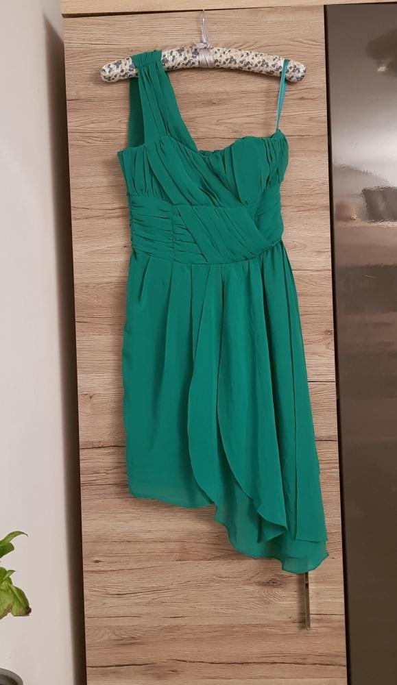 Sukienka H&M r 34 zielona asymetryczna