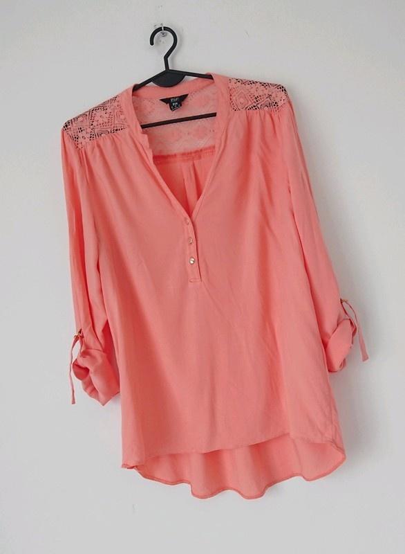 F&F pomarańczowa koszula z koronką