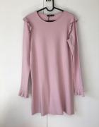 bershka sukienka nowa pudrowy róż falbany...