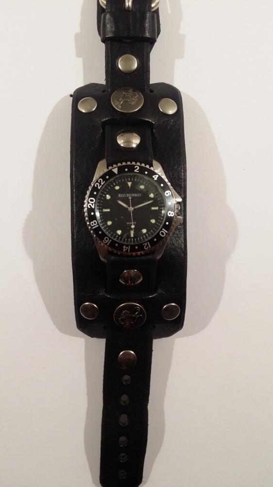 Nowy skórzany zegarek Red Monkey czarny