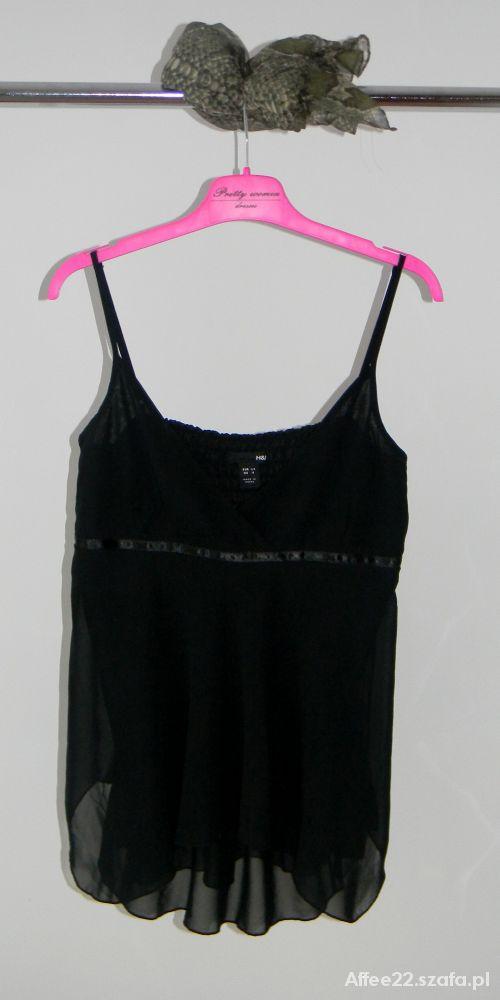 H&M czarny top z regulowanymi ramiączkami XS