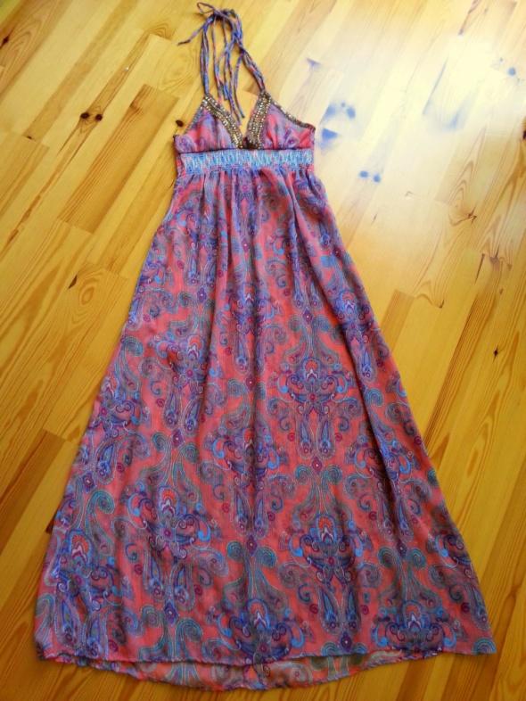 Śliczna kolorowa sukienka maxi na lato rozm S