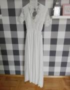 suknia ślubna ślub cywilny suknia maxi dress biała sesja XS S c...