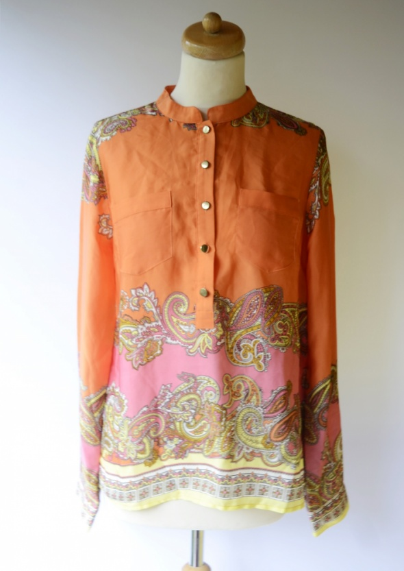 Bluzka H&M L 40 Wzory Boho Pomarańczowa Elegancka