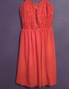 Czerwona sukienka koronka szyfon S M...