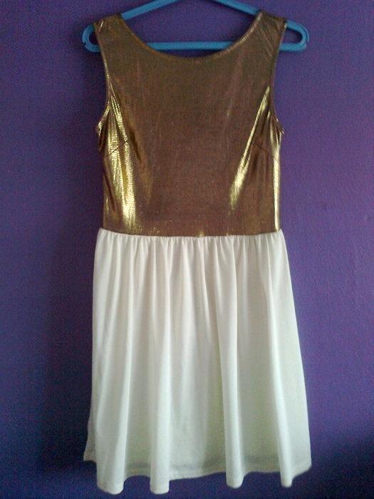 Złota sukienka zip dekolt na plecach S M