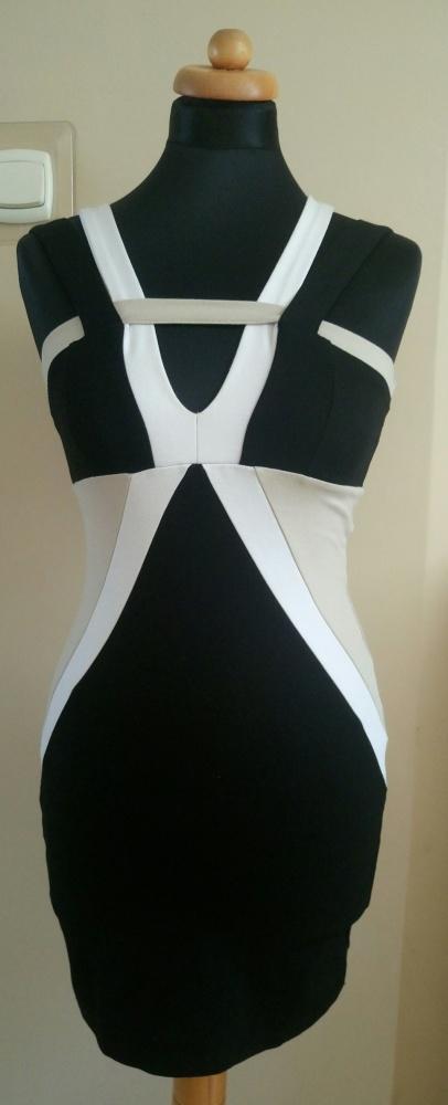 Sukienka obcisła 3 kolory paski XS 34