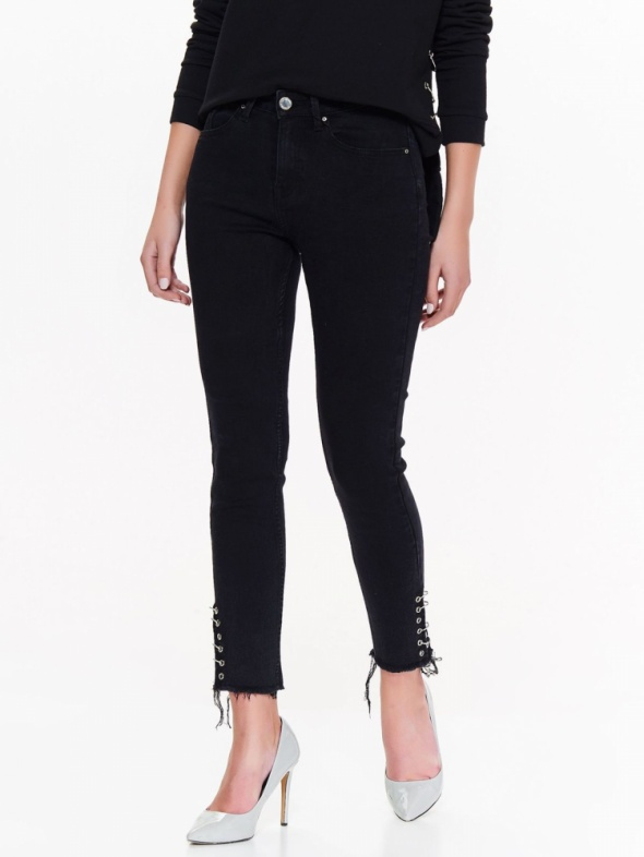 Spodnie Jeansy metalowe koła kółeczka 36 S