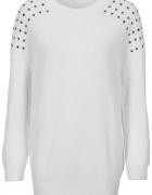 Sweter Bonprix ćwieki 44 46 oversize biały XXL oversize casual ...