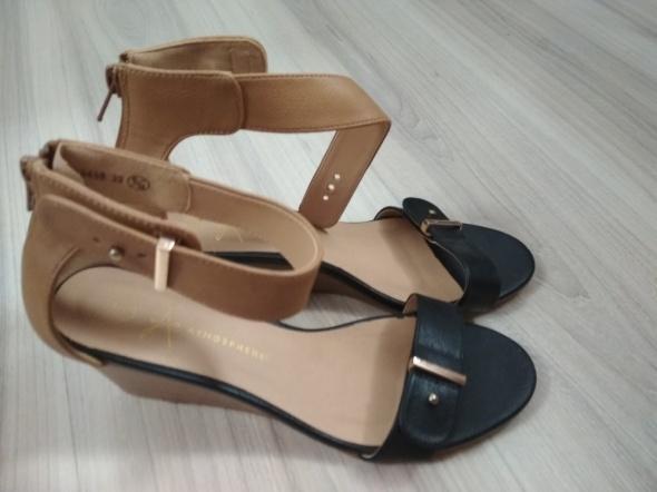 Buty damskie 37 czarno beżowe