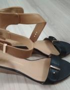 Buty damskie 37 czarno beżowe...