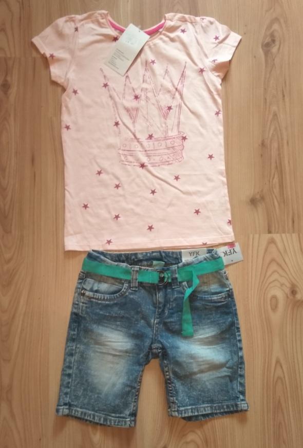 Nowy letni komplecik jeansowe spodenki i różowa bluzka koszulka 134