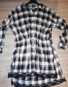 Reserved koszula tunika w czarno biała krate z czarna koronka...