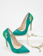 Nowe buty szpilki Lost Ink 40 zielone zamszowe zieleń obcasy wy...