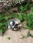 stary srebrny pierścionek kwiaty próby rękodzieło...