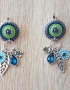 Nowe kolczyki wiszące długie niebieskie zielone srebrne boho hi...