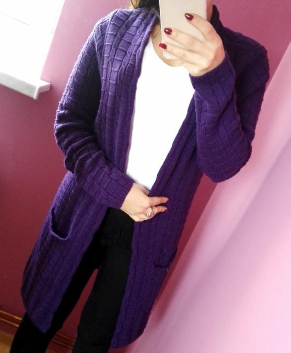 Kardigan z warkoczami sweter narzutka pleciony rozmiar S