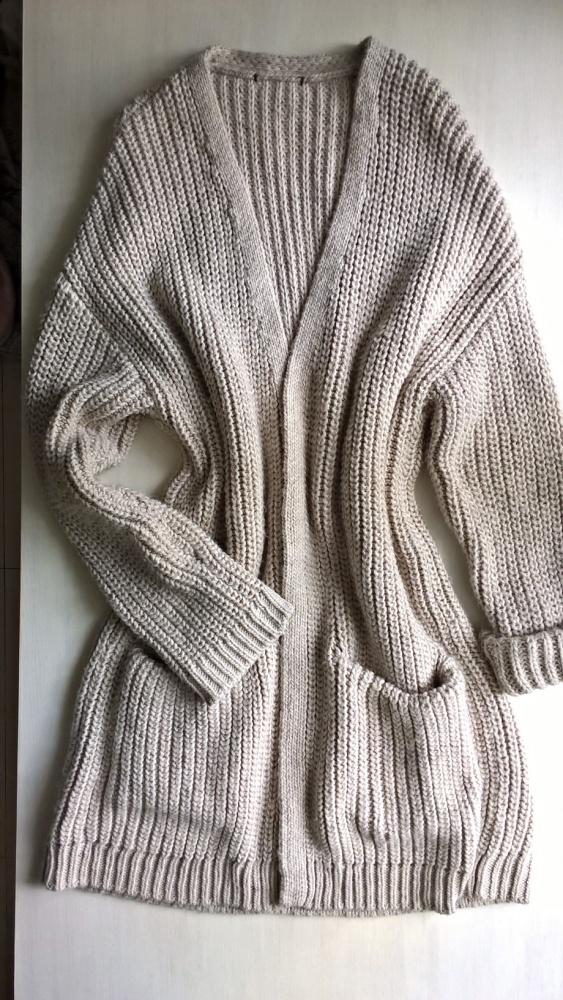 Długi beżowy kardigan płaszcz oversize od S do XL
